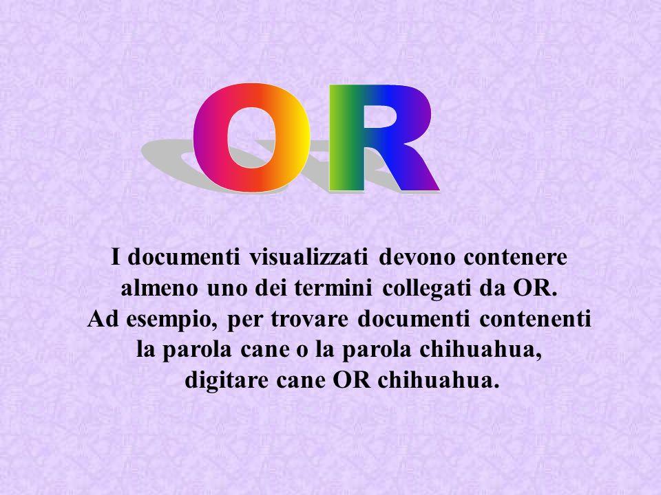I documenti visualizzati devono contenere almeno uno dei termini collegati da OR. Ad esempio, per trovare documenti contenenti la parola cane o la par
