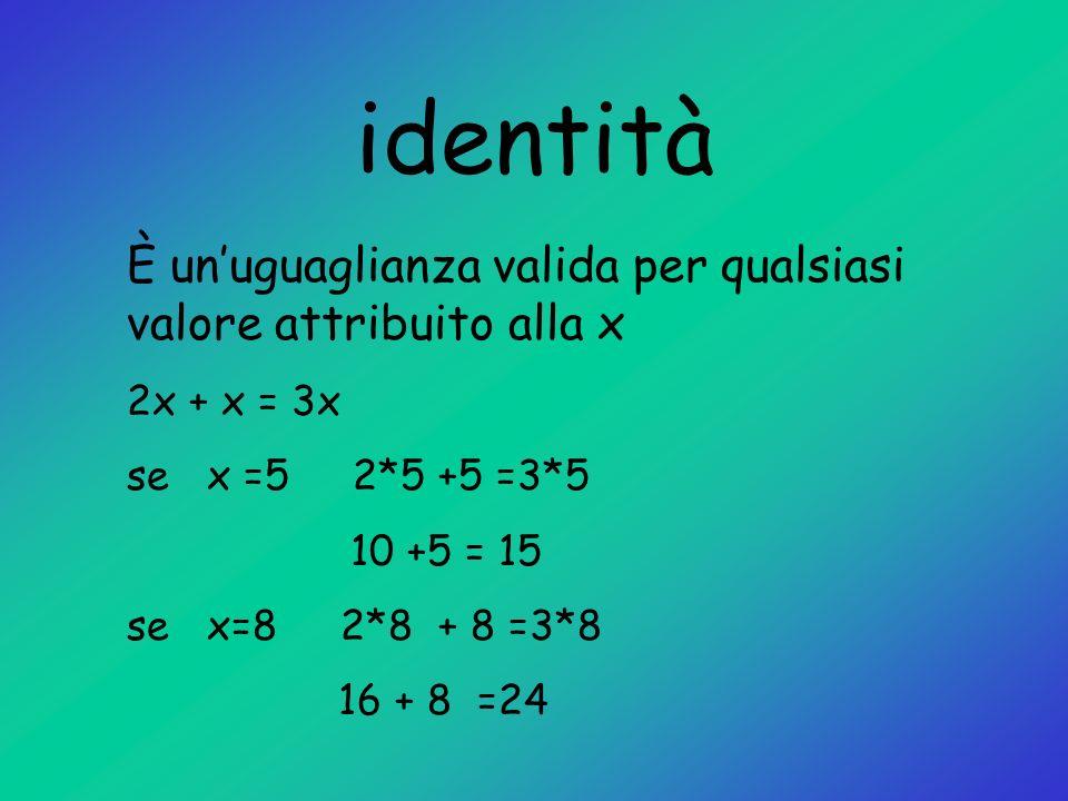 identità È unuguaglianza valida per qualsiasi valore attribuito alla x 2x + x = 3x se x =5 2*5 +5 =3*5 10 +5 = 15 se x=8 2*8 + 8 =3*8 16 + 8 =24