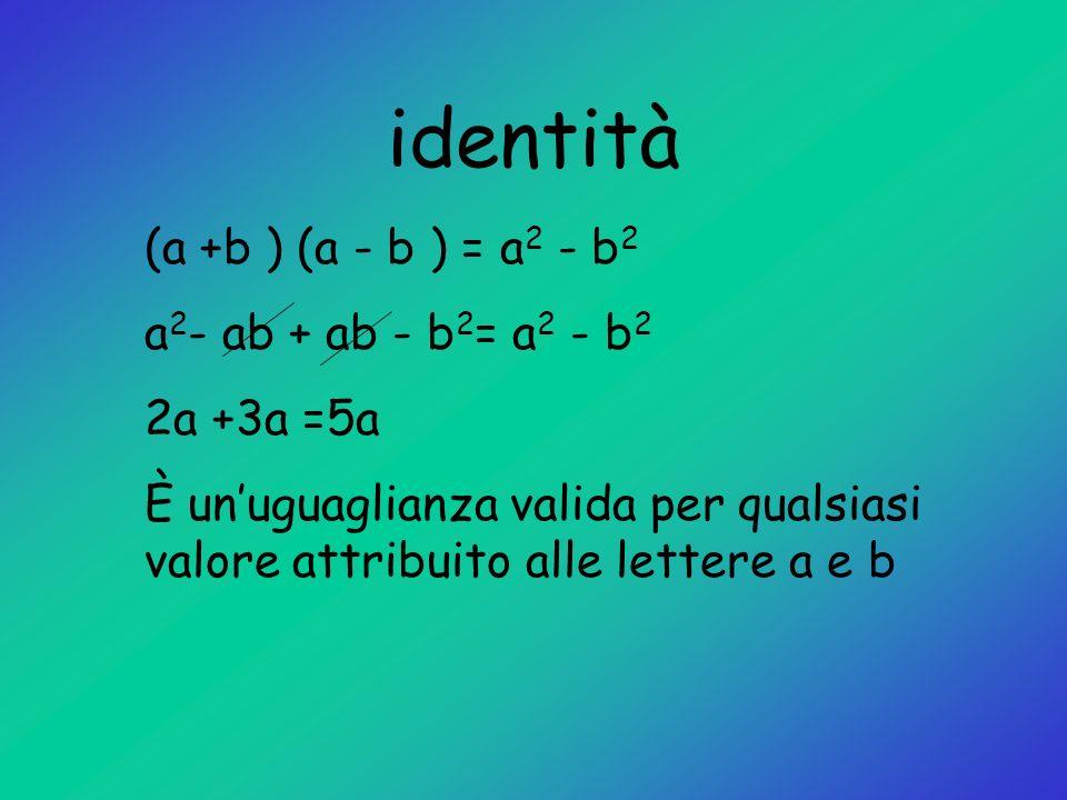 identità (a +b ) (a - b ) = a 2 - b 2 a 2 - ab + ab - b 2 = a 2 - b 2 2a +3a =5a È unuguaglianza valida per qualsiasi valore attribuito alle lettere a