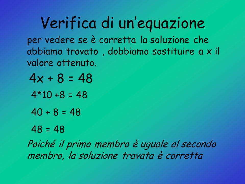 Verifica di unequazione per vedere se è corretta la soluzione che abbiamo trovato, dobbiamo sostituire a x il valore ottenuto. 4x + 8 = 48 4*10 +8 = 4