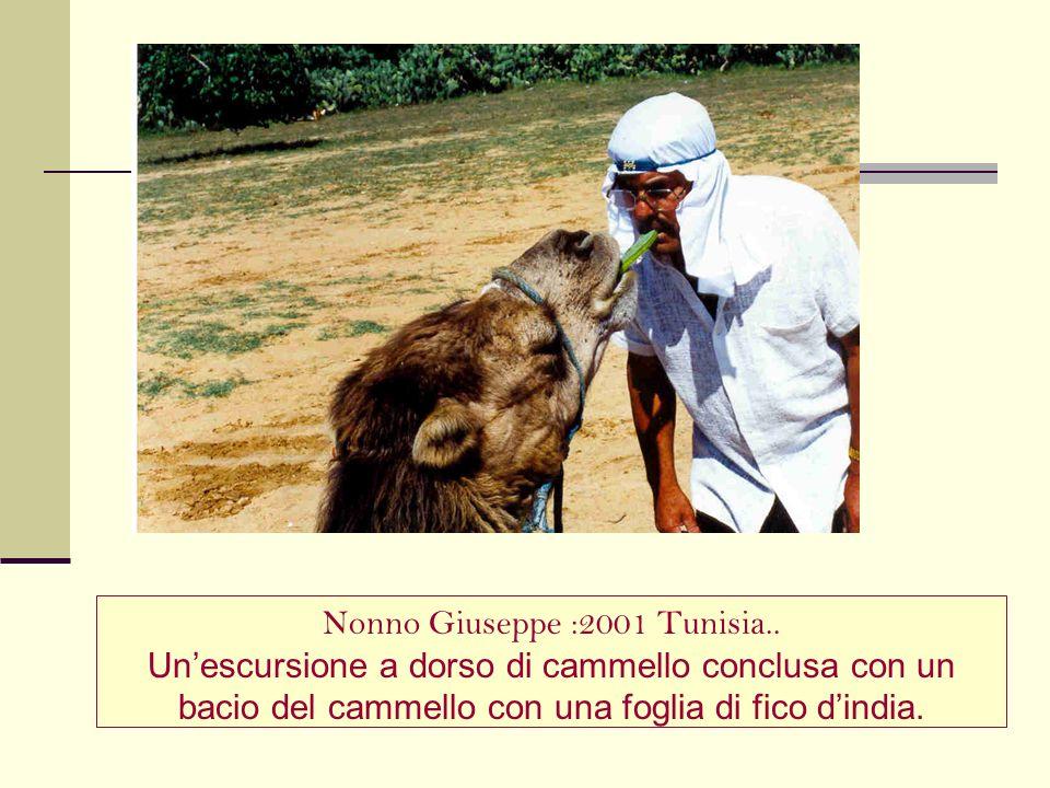 Nonno Giuseppe :2001 Tunisia.. Unescursione a dorso di cammello conclusa con un bacio del cammello con una foglia di fico dindia.