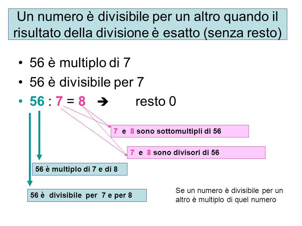 Un numero è divisibile per un altro quando il risultato della divisione è esatto (senza resto) 56 è multiplo di 7 56 è divisibile per 7 56 : 7 = 8 res