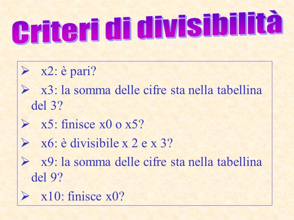 x 2: è pari? x 3: la somma delle cifre sta nella tabellina del 3? x 5: finisce x0 o x5? x 6: è divisibile x 2 e x 3? x 9: la somma delle cifre sta nel