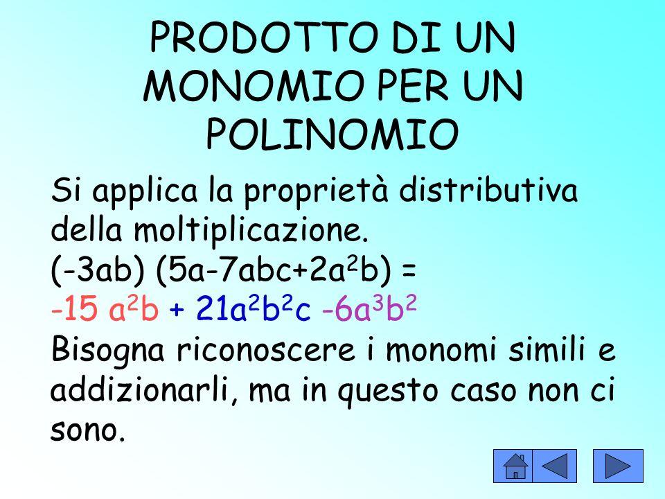 PRODOTTO DEI MONOMI Per eseguire il prodotto di monomi bisogna moltiplicare i coefficienti e la parte letterale. Es:(+2a 2 b)(-3abc)=-6a 3 b 2 c