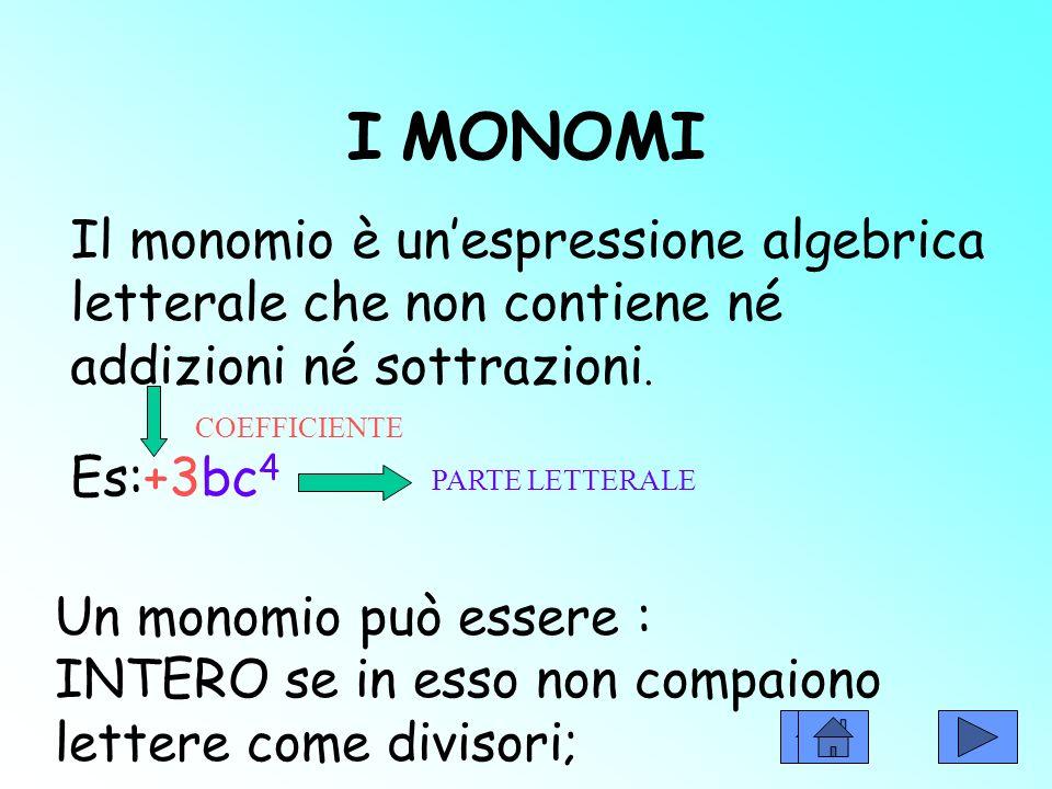 I MONOMI Il monomio è unespressione algebrica letterale che non contiene né addizioni né sottrazioni.