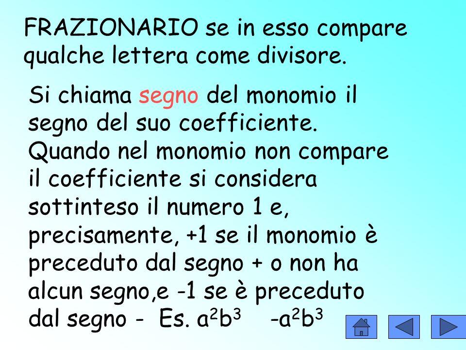 I MONOMI Il monomio è unespressione algebrica letterale che non contiene né addizioni né sottrazioni. Es:+3bc 4 COEFFICIENTE PARTE LETTERALE Un monomi