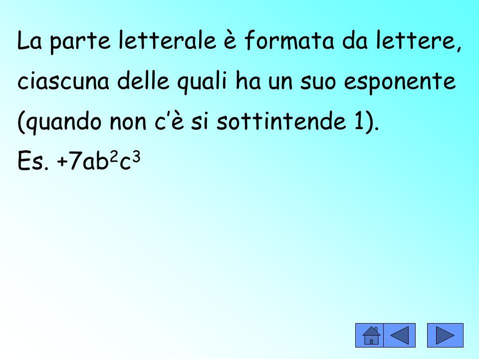 La parte letterale è formata da lettere, ciascuna delle quali ha un suo esponente (quando non cè si sottintende 1).