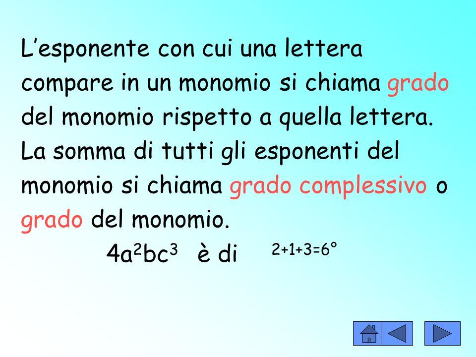 La parte letterale è formata da lettere, ciascuna delle quali ha un suo esponente (quando non cè si sottintende 1). Es. +7ab 2 c 3
