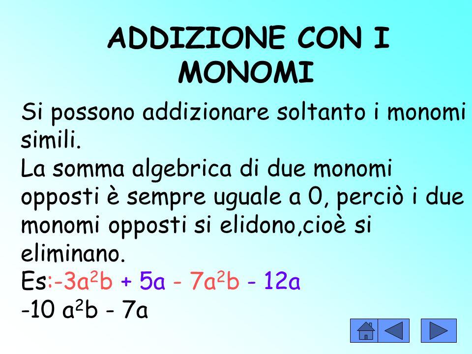 Due monomi si dicono simili se hanno la stessa parte letterale +3ab e -5ab uguali se sono simili e hanno lo stesso coefficiente +3ab e opposti se sono