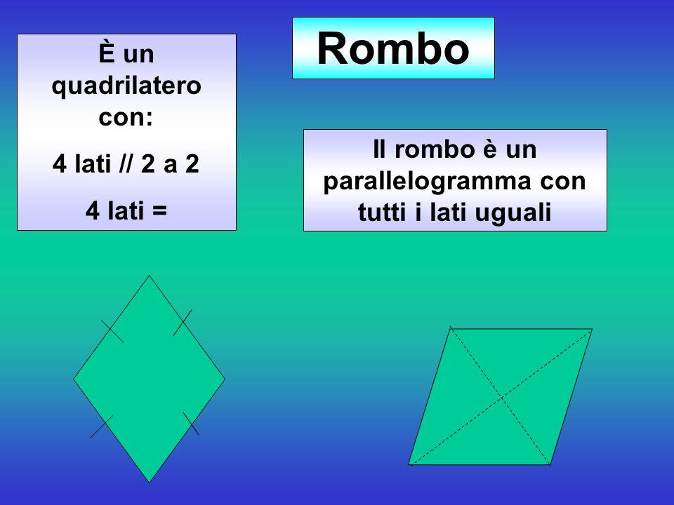 È un quadrilatero con: 4 lati // 2 a 2 4 lati = Rombo Il rombo è un parallelogramma con tutti i lati uguali