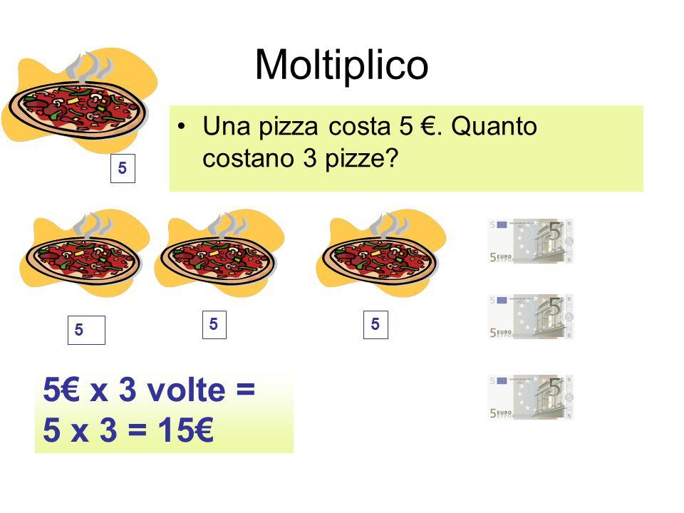 Moltiplico Una pizza costa 5. Quanto costano 3 pizze? 5 x 3 volte = 5 x 3 = 15 5 5 5 5