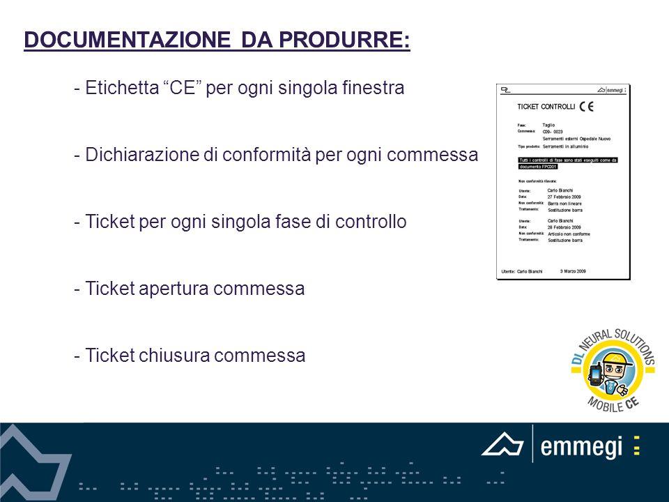 DOCUMENTAZIONE DA PRODURRE: - Etichetta CE per ogni singola finestra - Dichiarazione di conformità per ogni commessa - Ticket per ogni singola fase di