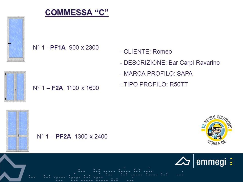 COMMESSA C - CLIENTE: Romeo - DESCRIZIONE: Bar Carpi Ravarino - MARCA PROFILO: SAPA - TIPO PROFILO: R50TT N° 1 - PF1A 900 x 2300 N° 1 – F2A 1100 x 1600 N° 1 – PF2A 1300 x 2400