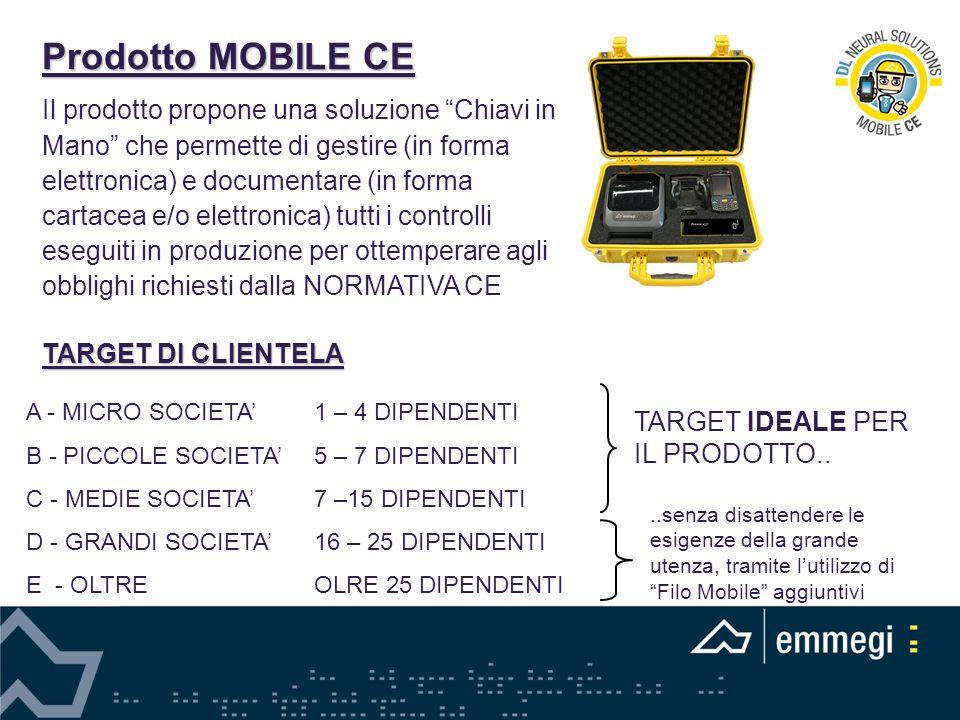 Prodotto MOBILE CE Il prodotto propone una soluzione Chiavi in Mano che permette di gestire (in forma elettronica) e documentare (in forma cartacea e/