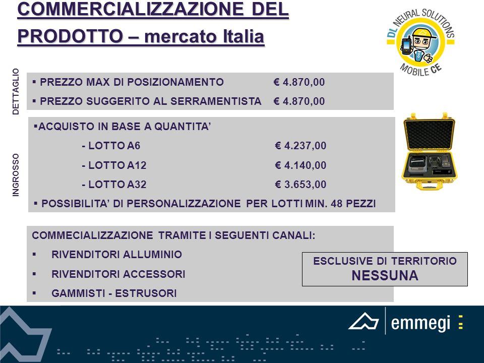 COMMERCIALIZZAZIONE DEL PRODOTTO – mercato Italia ACQUISTO IN BASE A QUANTITA - LOTTO A6 4.237,00 - LOTTO A12 4.140,00 - LOTTO A32 3.653,00 POSSIBILIT