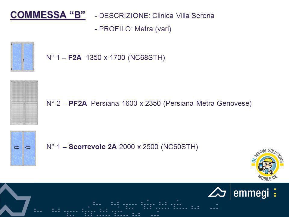 COMMESSA B - DESCRIZIONE: Clinica Villa Serena - PROFILO: Metra (vari) N° 1 – F2A 1350 x 1700 (NC68STH) N° 2 – PF2A Persiana 1600 x 2350 (Persiana Met
