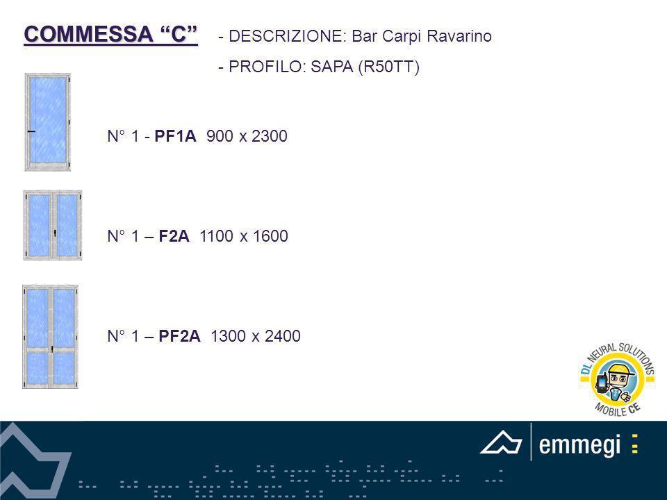 COMMESSA C - DESCRIZIONE: Bar Carpi Ravarino - PROFILO: SAPA (R50TT) N° 1 - PF1A 900 x 2300 N° 1 – F2A 1100 x 1600 N° 1 – PF2A 1300 x 2400