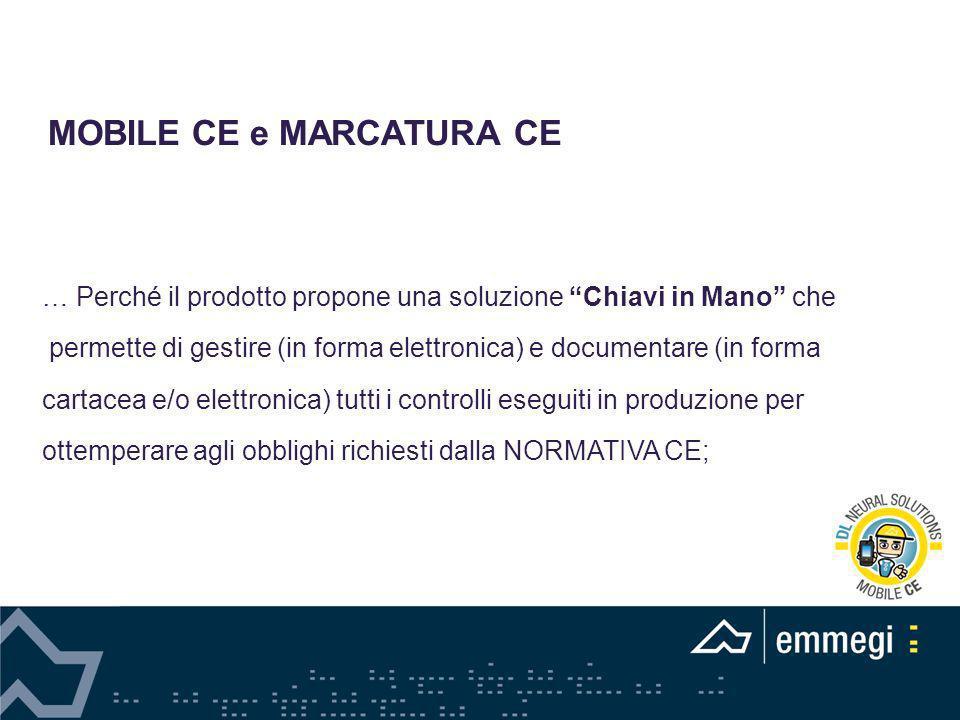 MOBILE CE e MARCATURA CE … Perché il prodotto propone una soluzione Chiavi in Mano che permette di gestire (in forma elettronica) e documentare (in fo