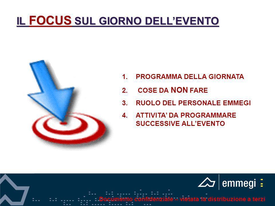 IL FOCUS SUL GIORNO DELLEVENTO 1.PROGRAMMA DELLA GIORNATA 2. COSE DA NON FARE 3.RUOLO DEL PERSONALE EMMEGI 4.ATTIVITA DA PROGRAMMARE SUCCESSIVE ALLEVE