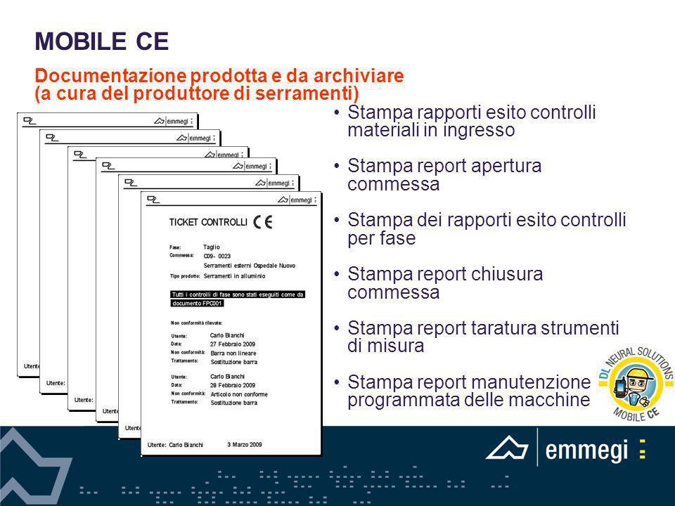 Stampa rapporti esito controlli materiali in ingresso Stampa report apertura commessa Stampa dei rapporti esito controlli per fase Stampa report chius