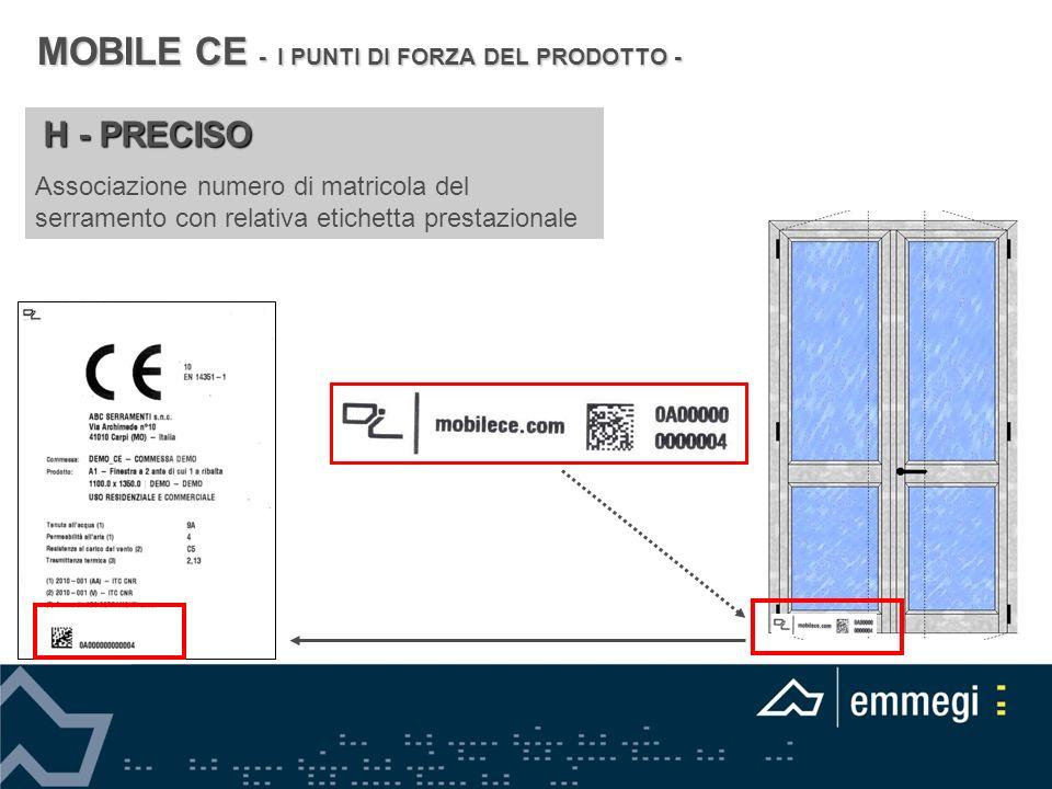 H - PRECISO Associazione numero di matricola del serramento con relativa etichetta prestazionale MOBILE CE - I PUNTI DI FORZA DEL PRODOTTO -