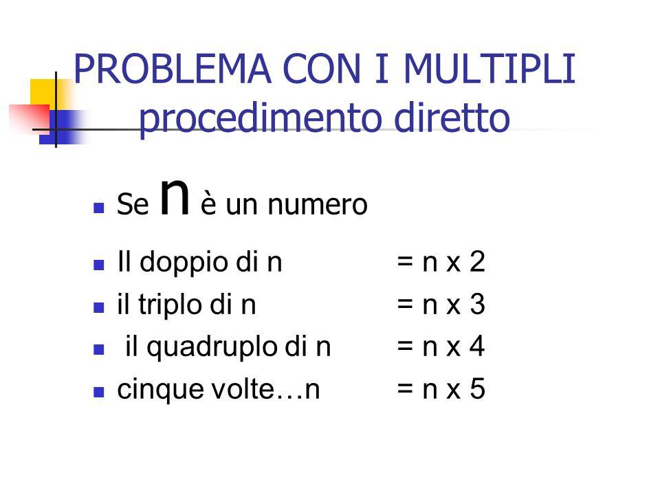 PROBLEMA CON I MULTIPLI procedimento diretto Se n è un numero Il doppio di n = n x 2 il triplo di n = n x 3 il quadruplo di n = n x 4 cinque volte…n =n x 5