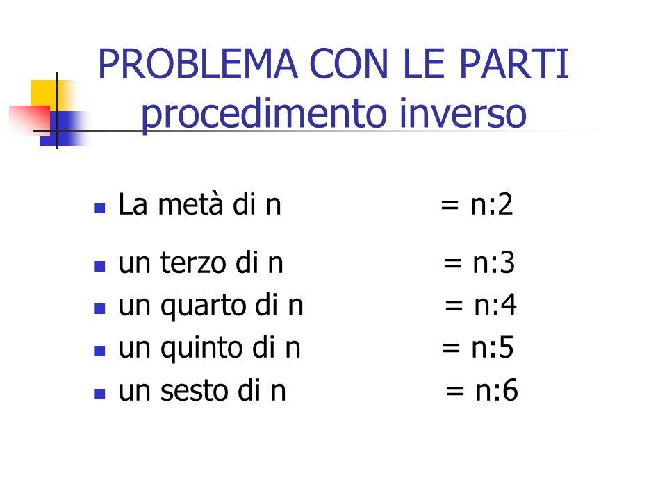 PROBLEMA CON I MULTIPLI procedimento diretto Se n è un numero Il doppio di n = n x 2 il triplo di n = n x 3 il quadruplo di n = n x 4 cinque volte…n =