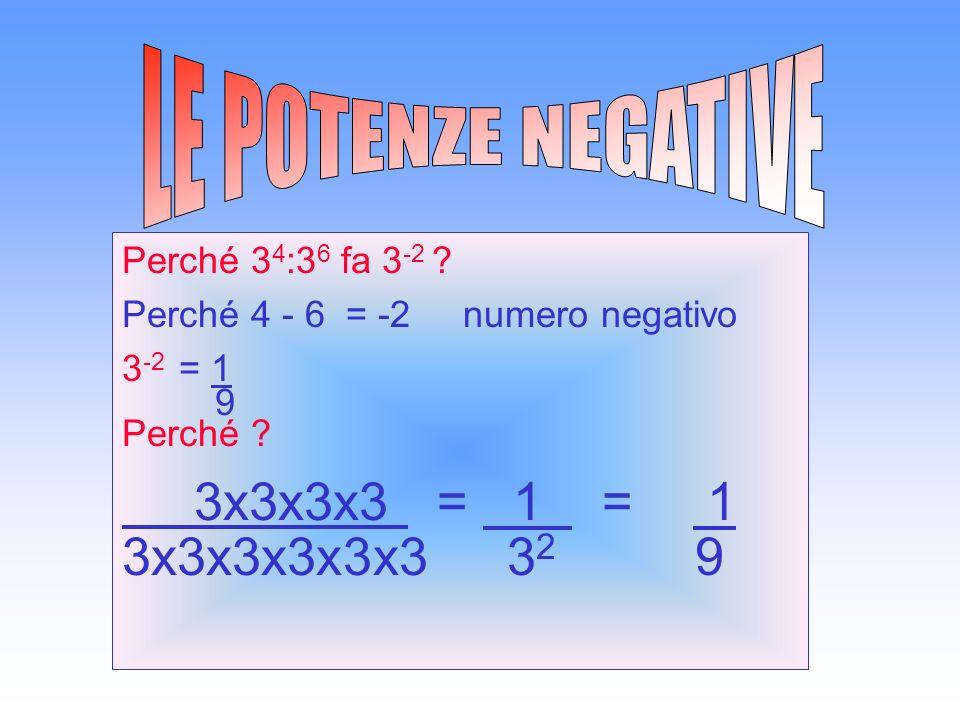Perché 3 4 :3 6 fa 3 -2 .Perché 4 - 6 = -2 numero negativo 3 -2 = 1 9 Perché .