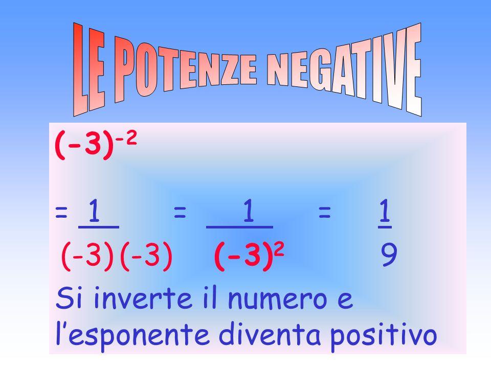 (-3) -2 = 1 = 1 = 1 (-3) (-3) (-3) 2 9 Si inverte il numero e lesponente diventa positivo