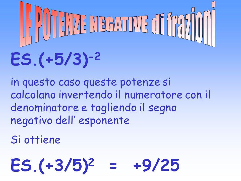 ES.(+5/3) -2 in questo caso queste potenze si calcolano invertendo il numeratore con il denominatore e togliendo il segno negativo dell esponente Si ottiene ES.(+3/5) 2 = +9/25