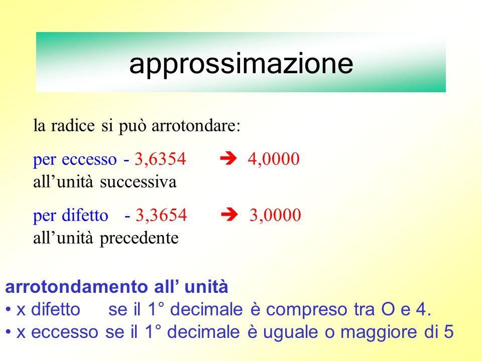 approssimazione la radice si può arrotondare: per eccesso - 3,6354 4,0000 allunità successiva per difetto - 3,3654 3,0000 allunità precedente arrotond