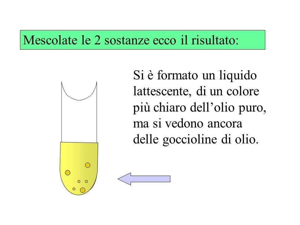Mescolate le 2 sostanze ecco il risultato: Si è formato un liquido lattescente, di un colore più chiaro dellolio puro, ma si vedono ancora delle goccioline di olio.