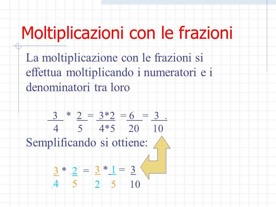 Moltiplicazioni con le frazioni La moltiplicazione con le frazioni si effettua moltiplicando i numeratori e i denominatori tra loro 3 * 2 = 3*2 = 6 = 3.