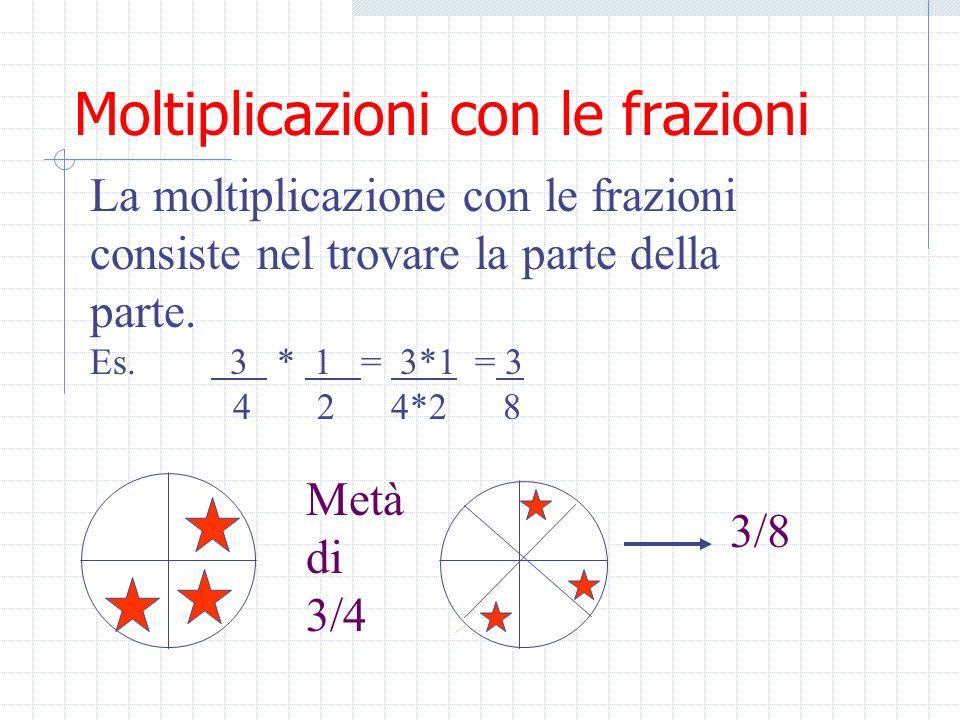 Moltiplicazioni con le frazioni La moltiplicazione con le frazioni si effettua moltiplicando i numeratori e i denominatori tra loro 3 * 2 = 3*2 = 6 =