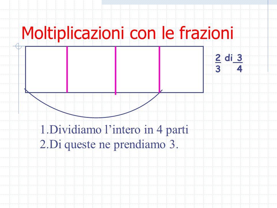 Moltiplicazioni con le frazioni La moltiplicazione con le frazioni consiste nel trovare la parte della parte. Es. 3 * 1 = 3*1 = 3 4 2 4*2 8 Metà di 3/