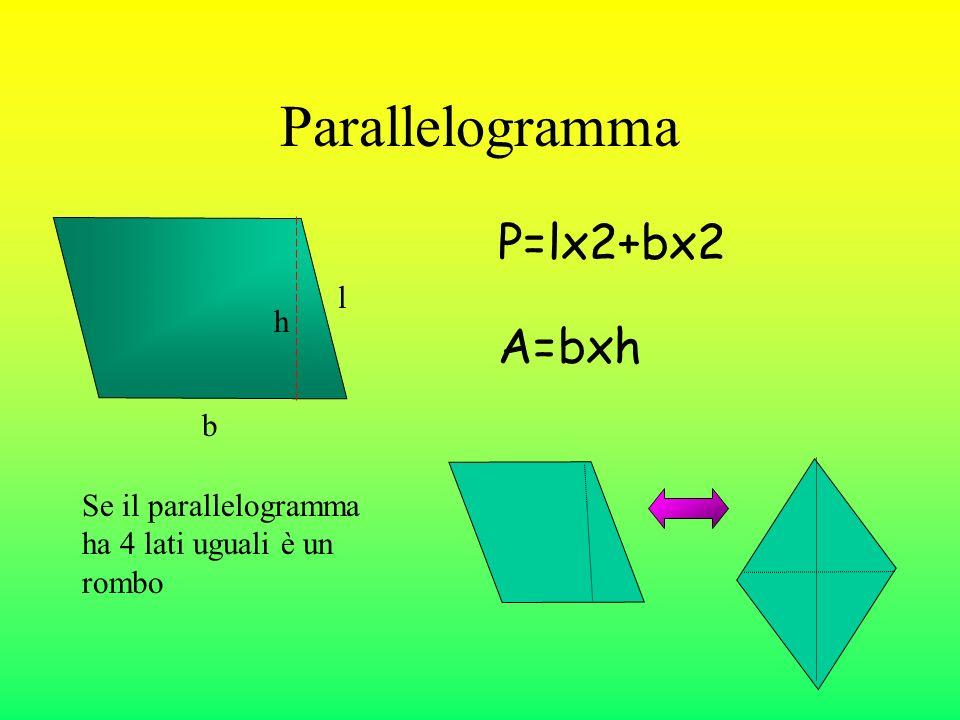 Parallelogramma P=lx2+bx2 A=bxh b l h Se il parallelogramma ha 4 lati uguali è un rombo