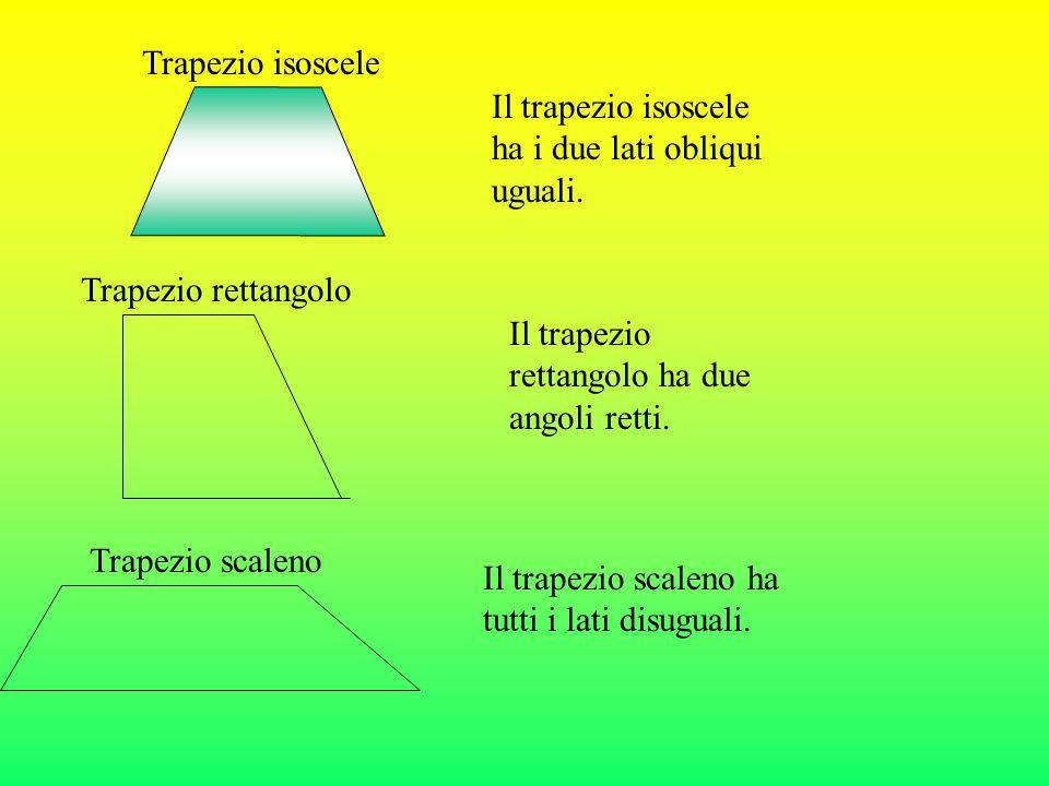 Trapezio isoscele Il trapezio isoscele ha i due lati obliqui uguali.