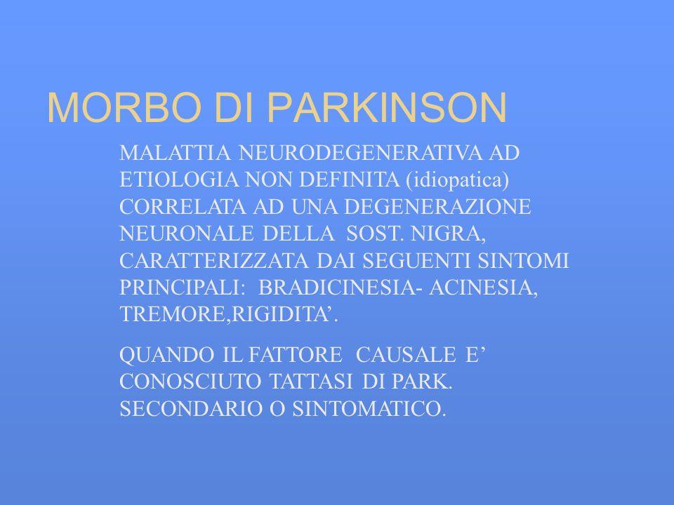 MORBO DI PARKINSON MALATTIA NEURODEGENERATIVA AD ETIOLOGIA NON DEFINITA (idiopatica) CORRELATA AD UNA DEGENERAZIONE NEURONALE DELLA SOST. NIGRA, CARAT