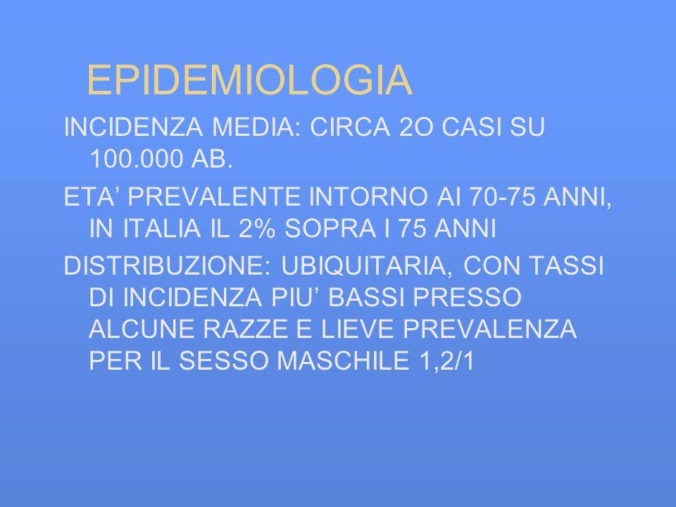 EPIDEMIOLOGIA INCIDENZA MEDIA: CIRCA 2O CASI SU 100.000 AB. ETA PREVALENTE INTORNO AI 70-75 ANNI, IN ITALIA IL 2% SOPRA I 75 ANNI DISTRIBUZIONE: UBIQU