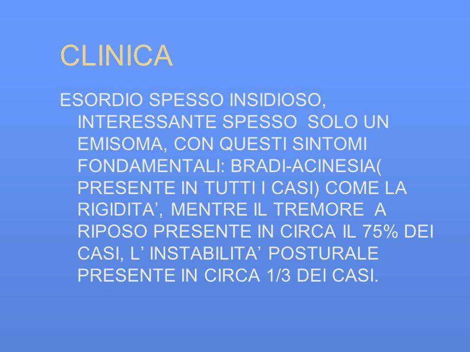 CLINICA ESORDIO SPESSO INSIDIOSO, INTERESSANTE SPESSO SOLO UN EMISOMA, CON QUESTI SINTOMI FONDAMENTALI: BRADI-ACINESIA( PRESENTE IN TUTTI I CASI) COME