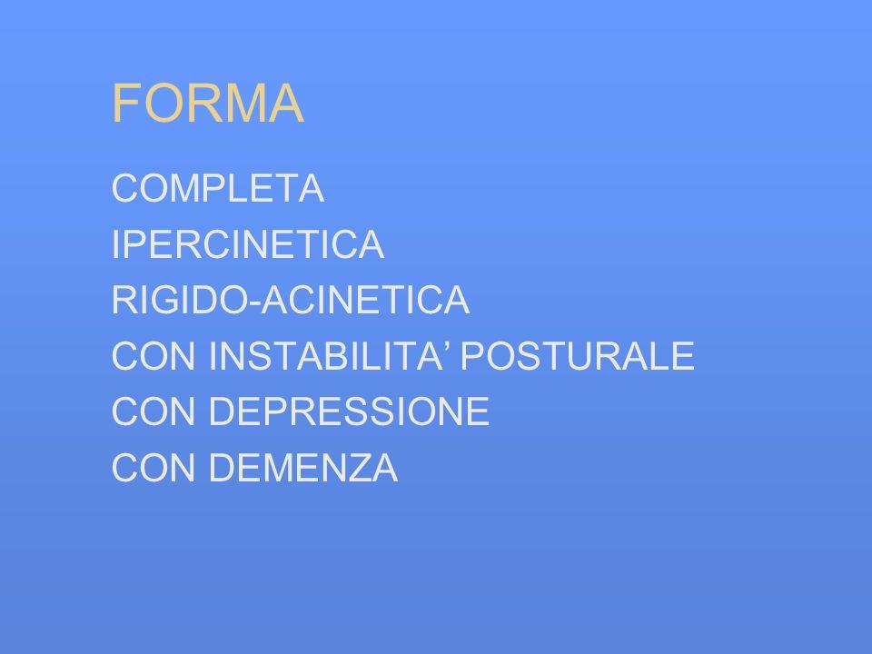 FORMA COMPLETA IPERCINETICA RIGIDO-ACINETICA CON INSTABILITA POSTURALE CON DEPRESSIONE CON DEMENZA