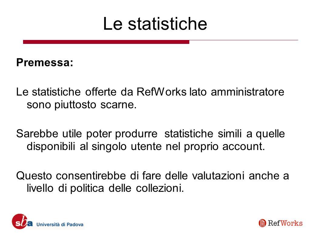 Le statistiche Premessa: Le statistiche offerte da RefWorks lato amministratore sono piuttosto scarne.