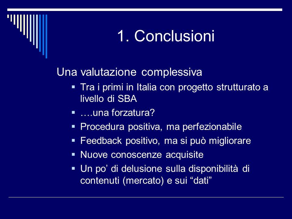 1. Conclusioni Una valutazione complessiva Tra i primi in Italia con progetto strutturato a livello di SBA ….una forzatura? Procedura positiva, ma per