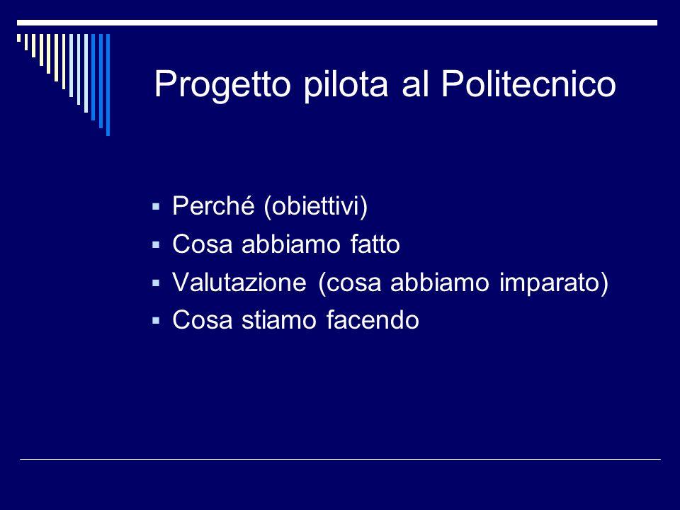 Progetto pilota al Politecnico Perché (obiettivi) Cosa abbiamo fatto Valutazione (cosa abbiamo imparato) Cosa stiamo facendo