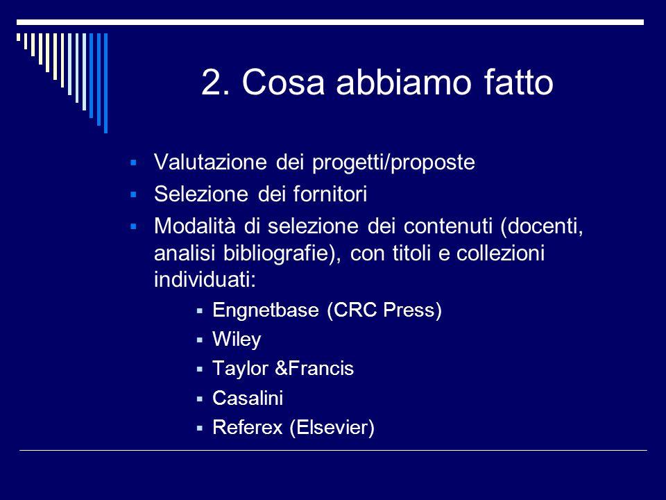 2. Cosa abbiamo fatto Valutazione dei progetti/proposte Selezione dei fornitori Modalità di selezione dei contenuti (docenti, analisi bibliografie), c