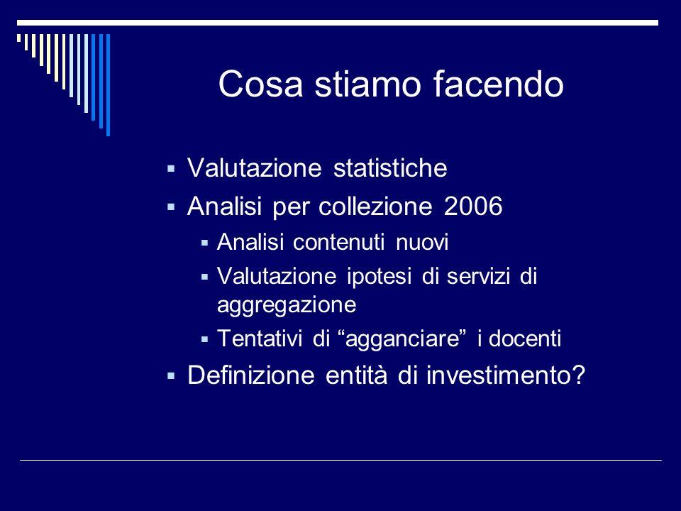 Cosa stiamo facendo Valutazione statistiche Analisi per collezione 2006 Analisi contenuti nuovi Valutazione ipotesi di servizi di aggregazione Tentati