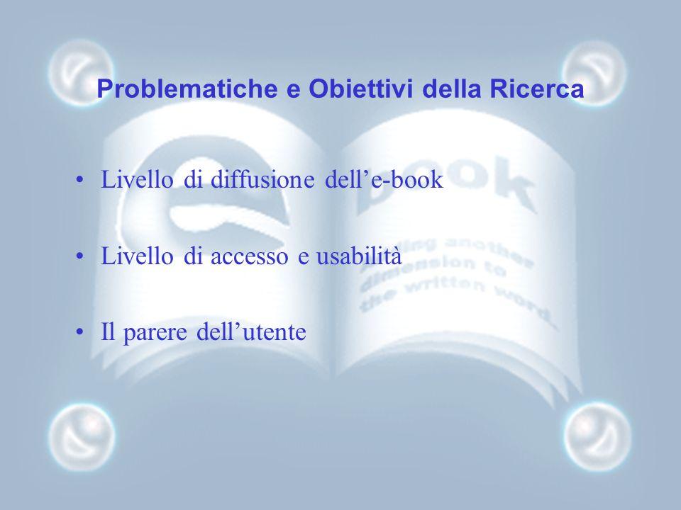 Problematiche e Obiettivi della Ricerca Livello di diffusione delle-book Livello di accesso e usabilità Il parere dellutente