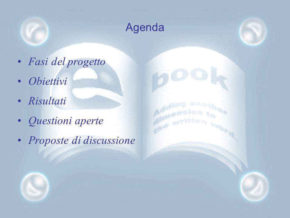 Agenda Fasi del progetto Obiettivi Risultati Questioni aperte Proposte di discussione