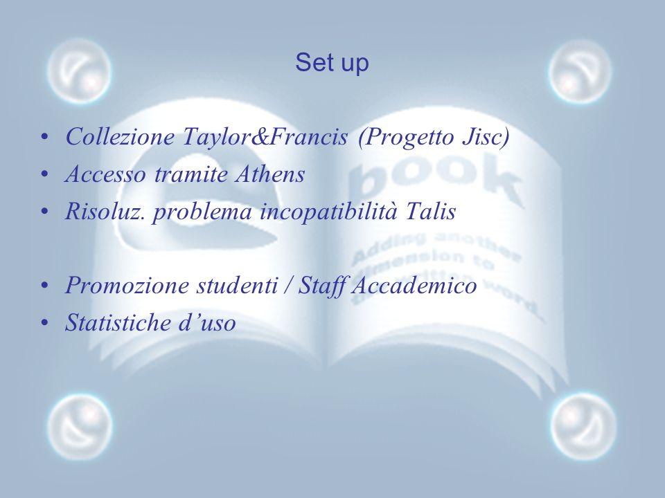 Set up Collezione Taylor&Francis (Progetto Jisc) Accesso tramite Athens Risoluz.