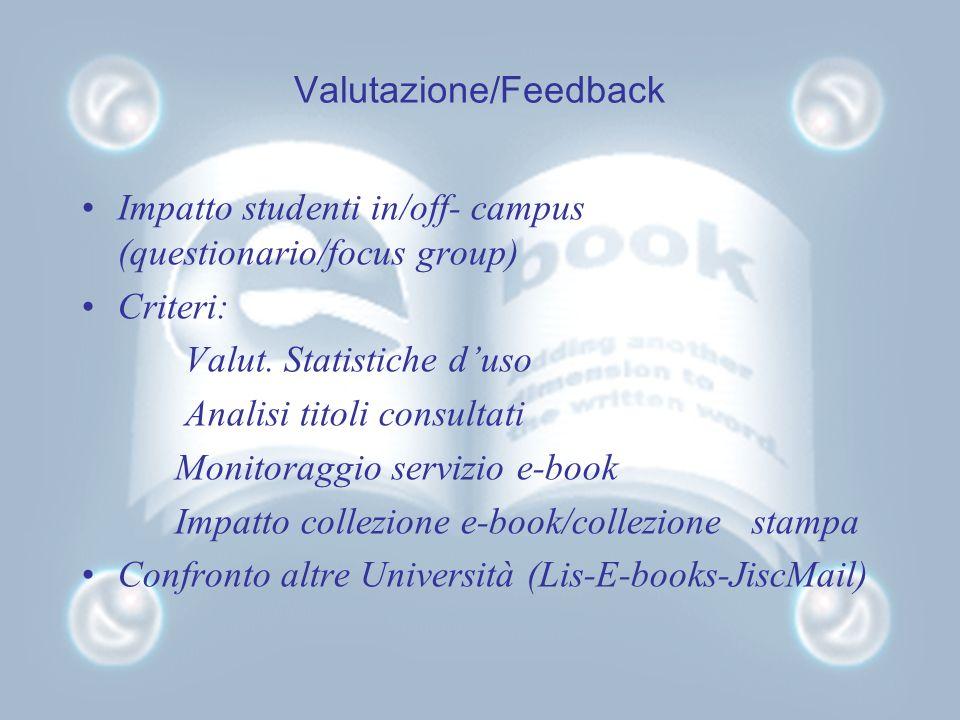 Valutazione/Feedback Impatto studenti in/off- campus (questionario/focus group) Criteri: Valut.